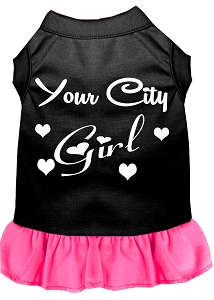 Custom City Girl Screen Print Souvenir Dog Dress Black with Bright Pink XS